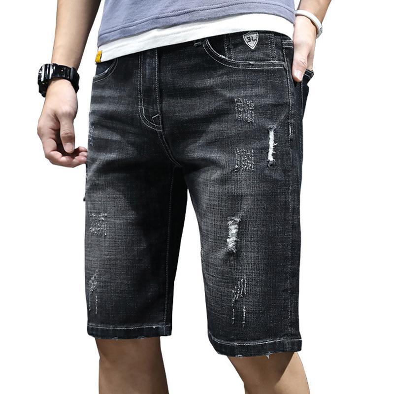 Fino shorts jeans jeans masculinos 5 calças de cinco pontos coreana de Slim calças jeans selvagem jeans homens de grande porte curto nova de verão
