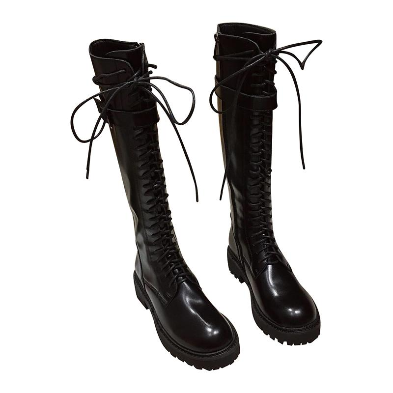 Winter Belt Buckle Strap Black Leather Women Knee High Boots Lace Up Side Zip Long Boots Fashion Women Girls Motorcycle Boots