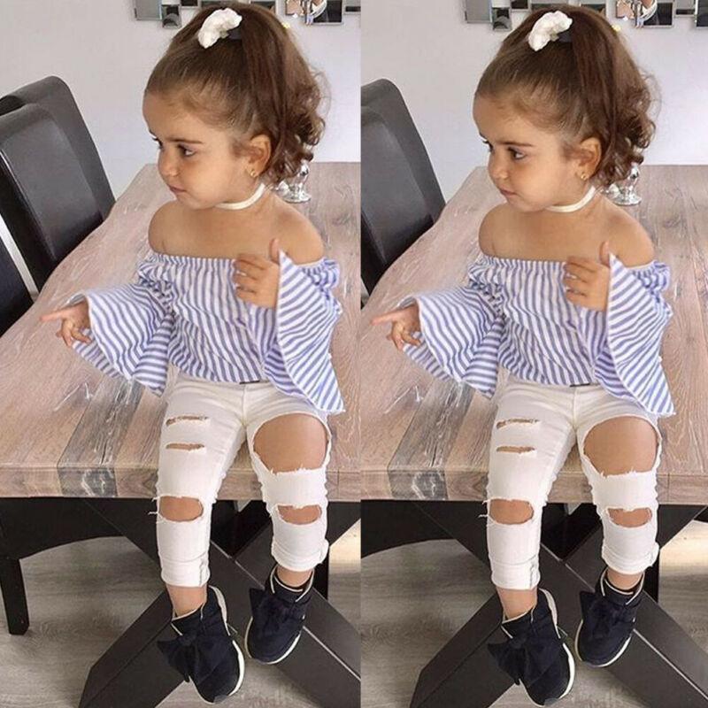 Pudcoco yepyeni Moda Bebek Bebek Kız Çocuk Kapalı Omuz En Ripped Pantolon Kıyafet Giyim Seti