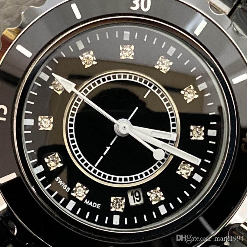 Üst Fabrika Bayan Lady erkek Beyaz Siyah Seramik 38mm Saatler Yüksek Kalite Kadınlar için JPAN Kuvars Saatı İzle 612