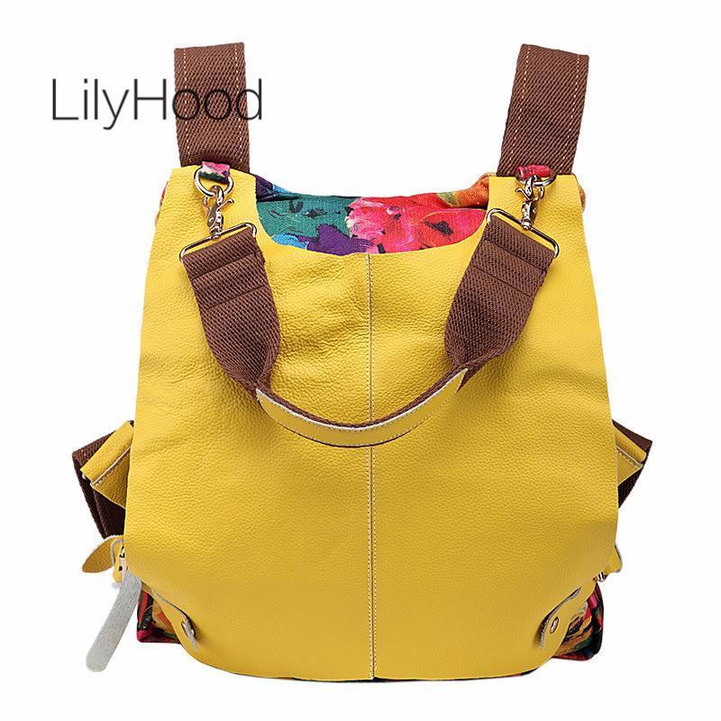 Cuero auténtico remiendo Mochila floral impresión Casual Capacidad grande de la mochila 2020 Viajes Escuela ocio femenino diario Mochila CX200805