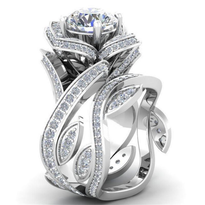 2018 новая мода серебро цвет большая роскошь розовое цветочное кольцо для женщины 7 цвета CZ камень свадебные украшения Dropshipping