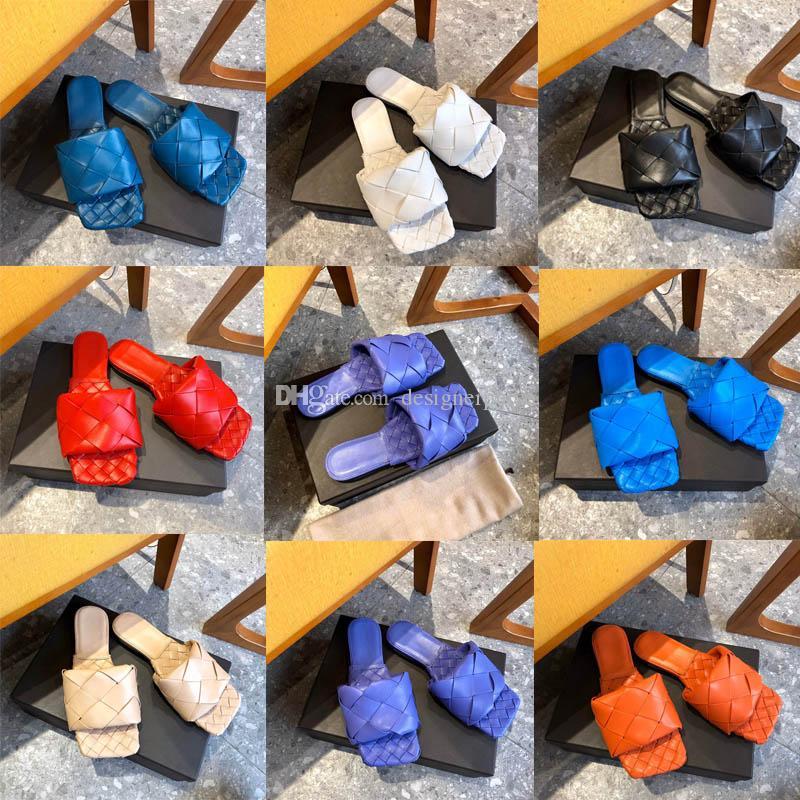 أفضل نوعية الأزياء الفاخرة LIDO FLAT SANDALS مصمم النعال منسوجة الصنادل والنعال والجلود المنسوجة نابا المرأة الصنادل والنعال
