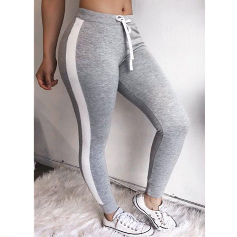 Calças de cintura Corredores Leggings Mulheres alta Lace up Sweatpants das mulheres listradas laterais 2020 Primavera-Verão de Fitness Calças Mulher Para