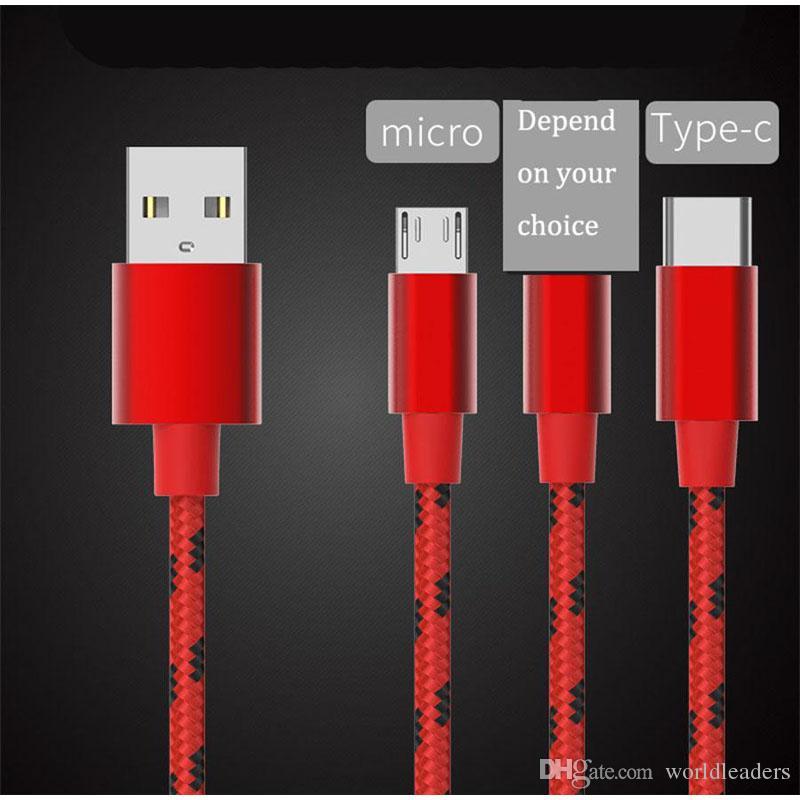 Tessuto Nylon Braid Micro USB di tipo c cavo Piombo Unbroken connettore metallico cavo Caricabatterie per il Samsung S7 6 5, HTC, Android Phone