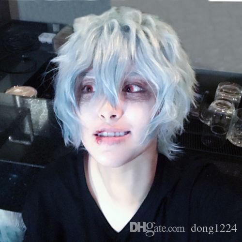 ePacket free shipping >My Boku no Hero Academia Tomura Shigaraki Short Grey Blue Cosplay Hair Wig