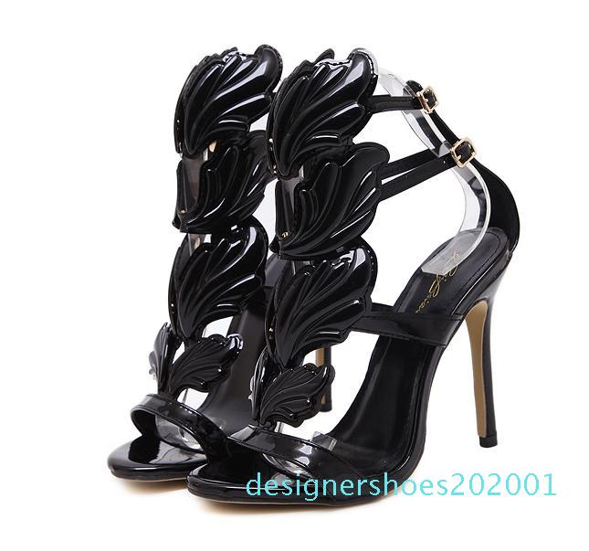Milan Fashion Chic Flame metal leaf Wing High Heel Sandals Party Events Shoes Size 35 to 40 01d