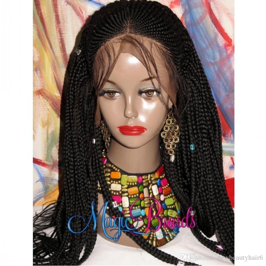 Novas mulheres afro rendas frente peruca cornrow Sintético Trançado Dianteira Do Laço Perucas Para Mulheres Negras Premium Trançado Caixa Tranças Peruca com cabelo do bebê