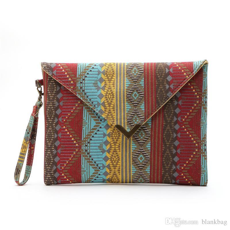 Nouveau motif géométrique toile Wristlet sac style vintage femmes dames couverture bouton imprimé sac d'embrayage d'enveloppe sac message
