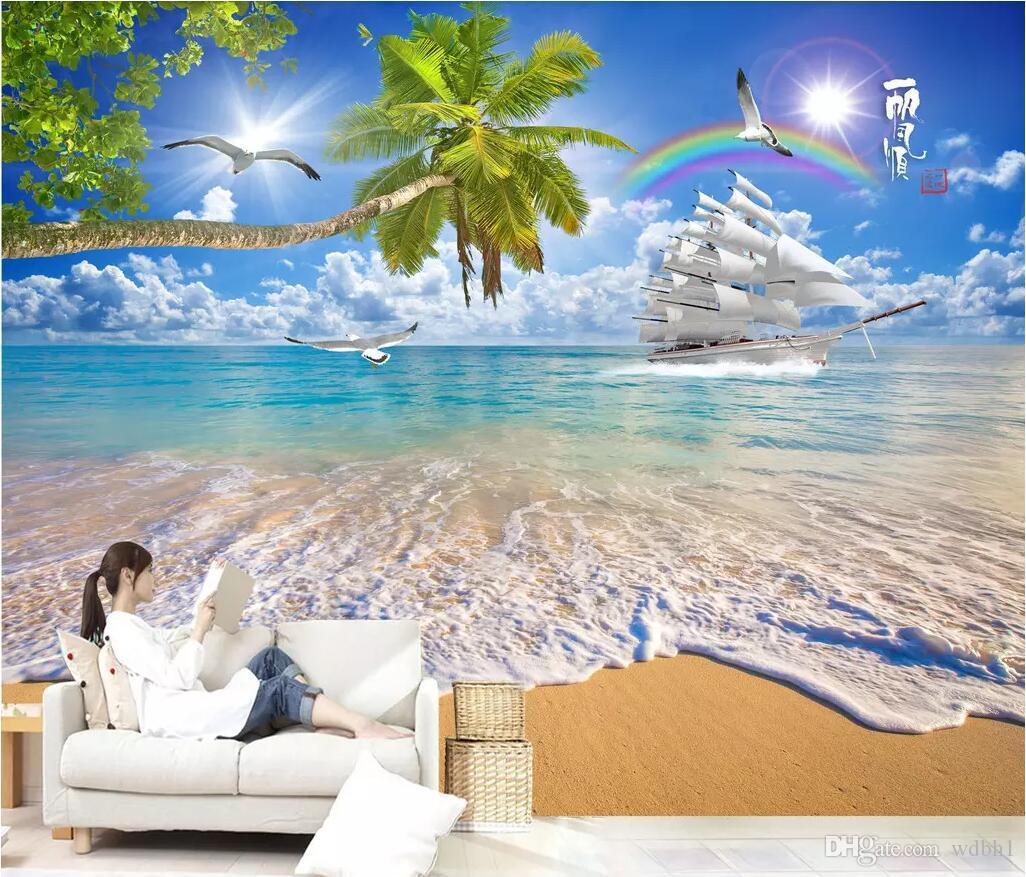Sala 3D papel tapiz de tela foto personalizada mural Suave vela árbol de coco playa aerosol 3D paisaje TV papel tapiz de pared para paredes 3 d