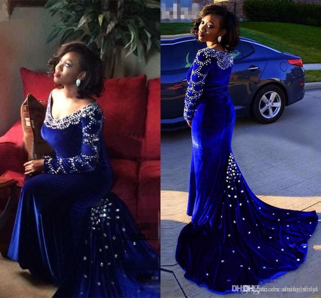 Плюс размер платья выпускного вечера сексуальный королевский синий Русалка глубокий V шеи с Rhineston бархат платья выпускного вечера платья вечерняя одежда SP339