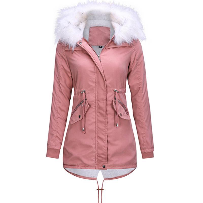 Giacca Maternità inverno con cappuccio parka inverno spessore caldo cappotto incinta coulisse Parka collo di pelliccia di cotone imbottito giacche