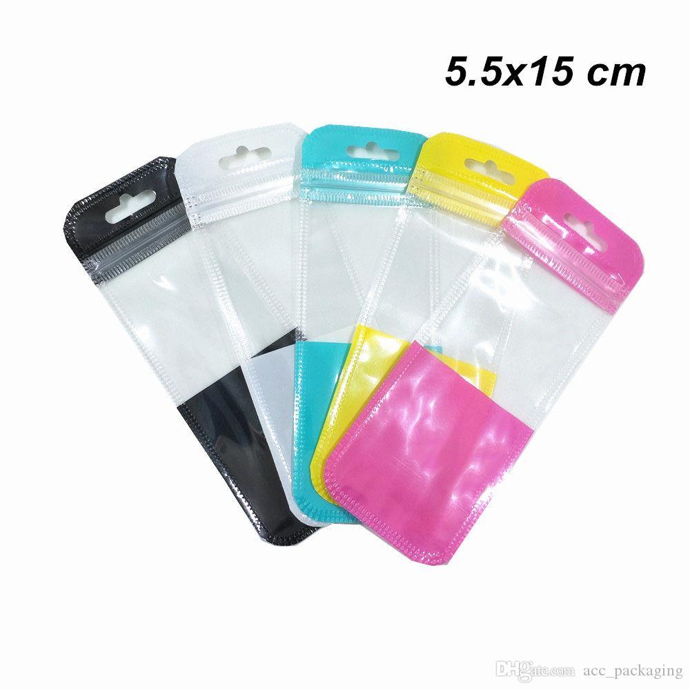 200pcs 5.5x15cm Bags Longo colorido Diversos Plástico Zipper bloco com Pendure Buraco Artesanato fonte de escritório de armazenamento Zipper Bolsas para Eletrônica