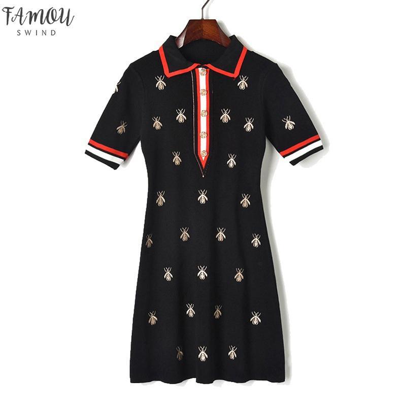 Fashion Designer Robes Contraste Femmes Rebressez les abeilles Collier Bouton tricoté Bouton à manches courtes Robe de broderie à manches courtes