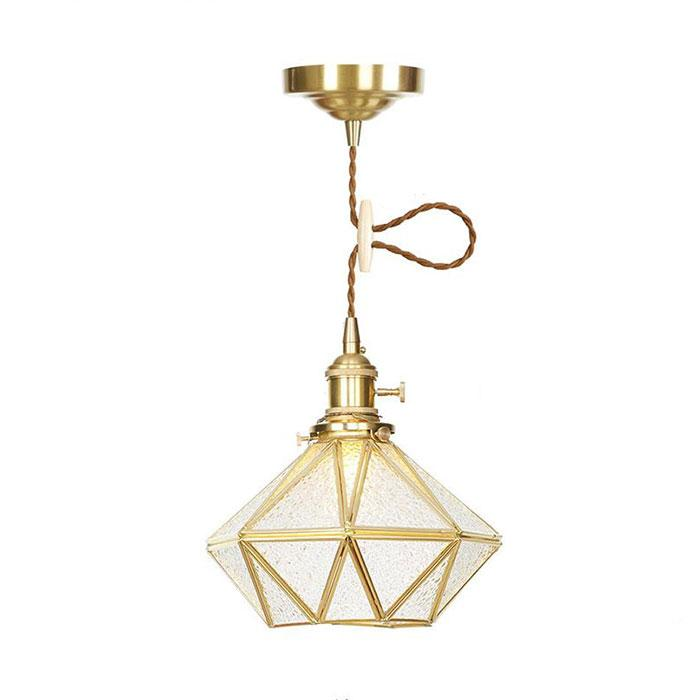 Geometric Glass Pendant Lights, Modern Industrial Bowl Shade Brass Ceiling Hanging Fitting for Kitchen Island, Bar, Dining Room