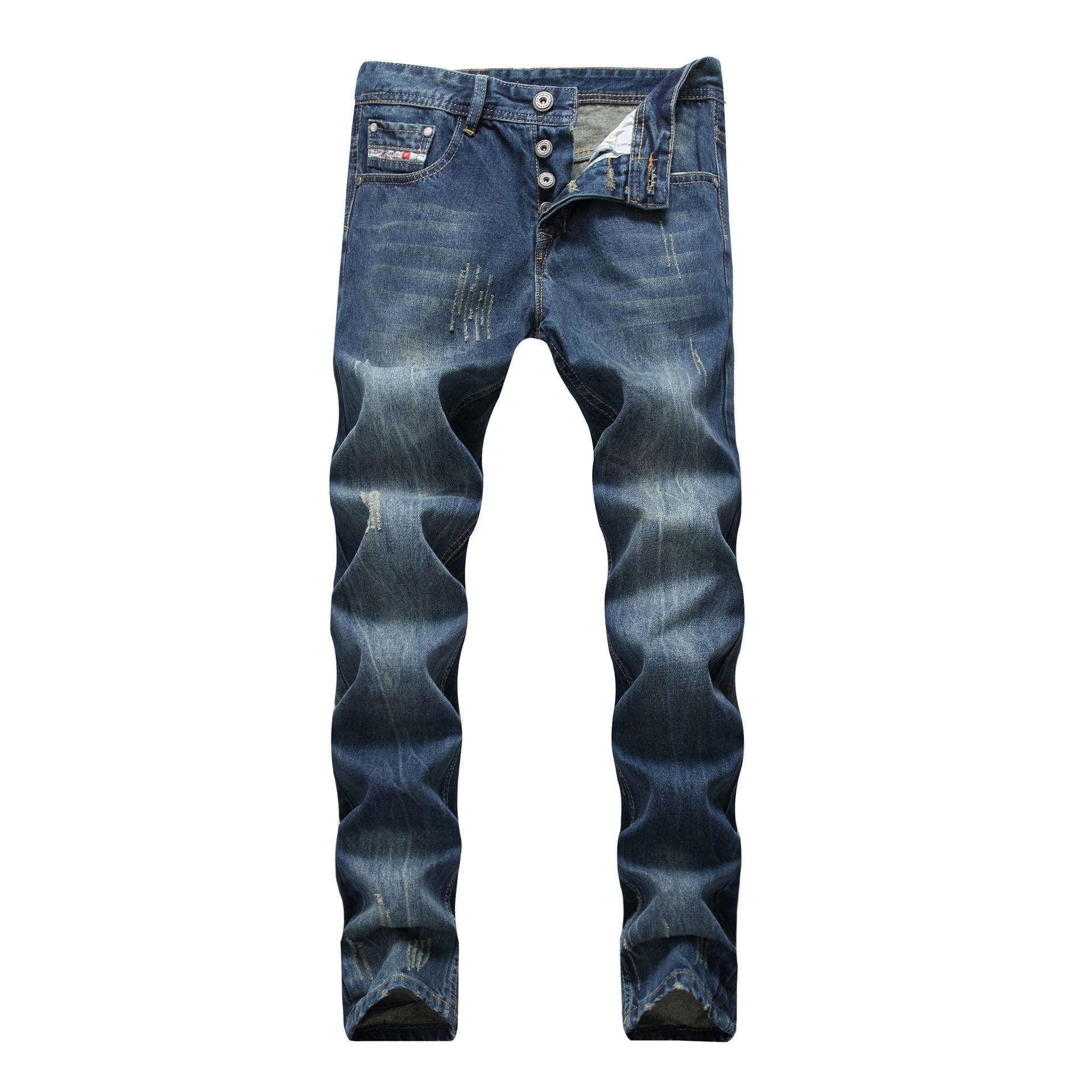 2020 neue Abnutzungs Löcher Männer nostalgischen Herren-Jeans blau Retro beunruhigt gerade gerade platzen Hose getragen