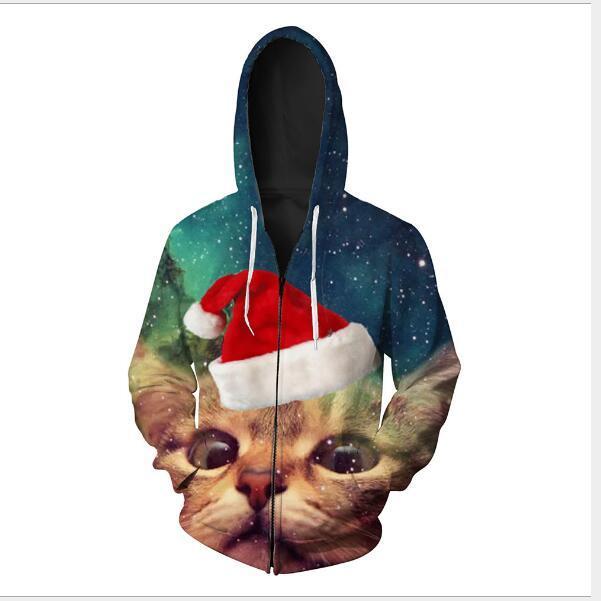 chaqueta de punto 2020 de Navidad otoño de los hombres de impresión gato suéter encapuchado Europea y prendas de vestir exteriores de la cremallera de la chaqueta de la cremallera de América