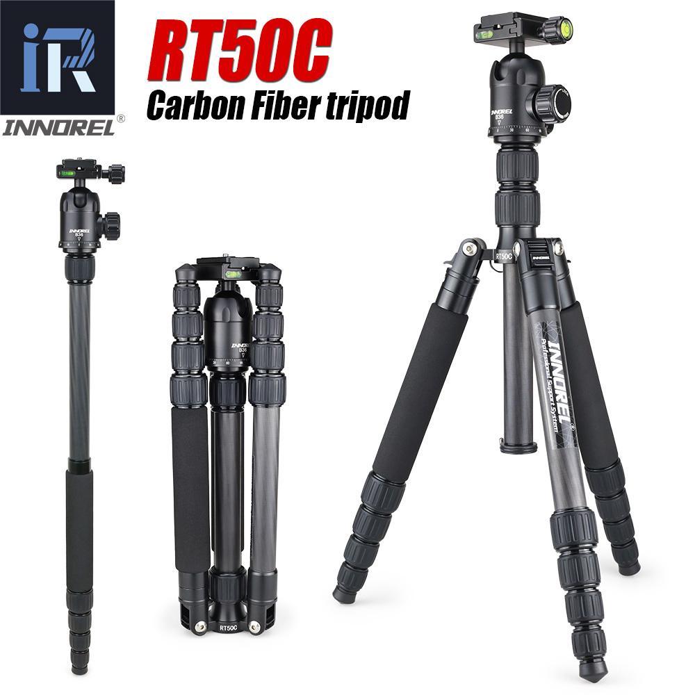 Fibra de Carbono RT50C tripé monopé para a câmera DSLR luz stand portátil compacto tripe profissional para Gopro Melhor do que T191025 Q666C
