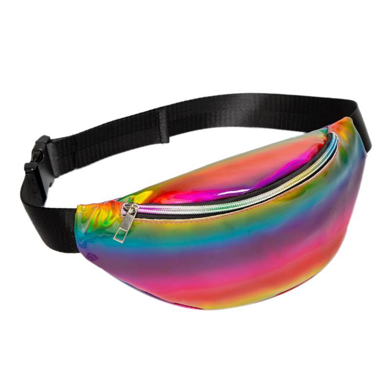 2020 Hombro PU Cintura Mujer Moda Bolsa de Tendencia Deportes Paquete de pecho Rainbow Cuero al aire libre Láser con cremallera Persiones inclinadas DBJFN