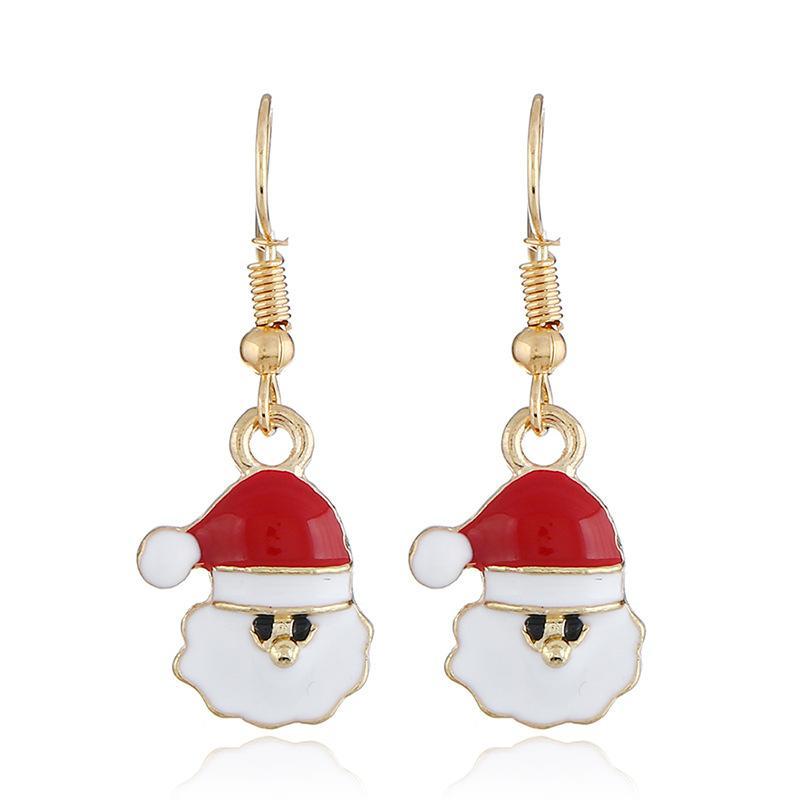 Heißer Entwurf Weihnachtsmann Kopf roten Hut Ohrring Art und Weise nette Karikatur-Weihnachtsweihnachtsmann roten Hut baumeln Earing Schmuck Geschenk-Großhandel