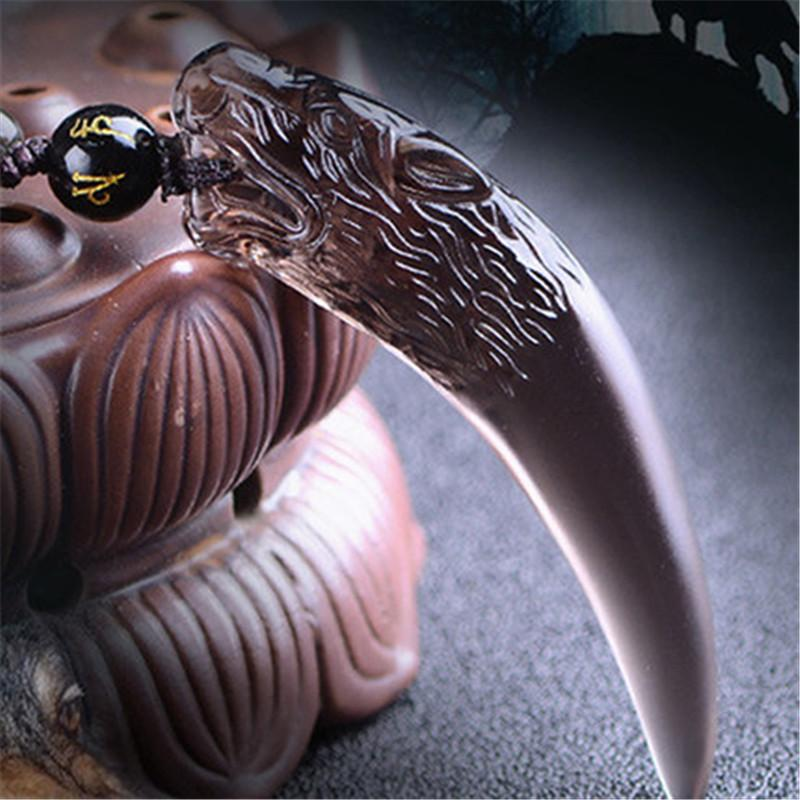 Natural Black Obsidian Wolf ожерелье Храбрый человек Amulet Лаки Подарок Энергия Камень Healing Fine Jewelry Fishion