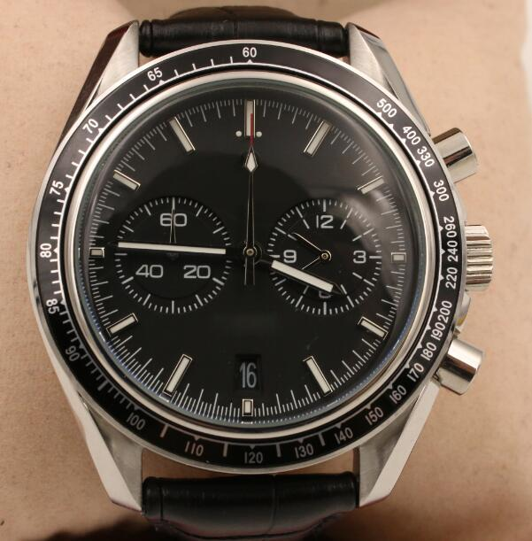 Hot Sales Master Acero Negro Moonwatch Co Axial cronógrafo movimiento de cuarzo relojes de los hombres de la correa de cuero se divierten los relojes