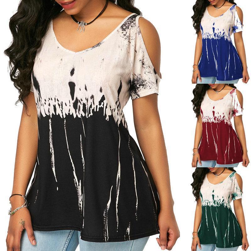 Drop Verschiffen-Service - Damen PLUS SIZE XL-8XL Short Sleeve Digital gedruckte Baumwollmischung T-Shirt Style-Nummer 1858