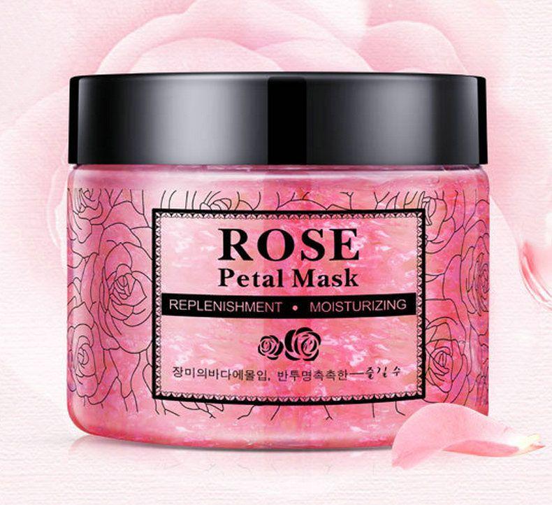 DHL 24pcs NEW Rose Petals Hydrating Face Mask Nourishing Skin lifting Face Mask Bright Petals Clay Sleeping Masks Treatment Black Mask