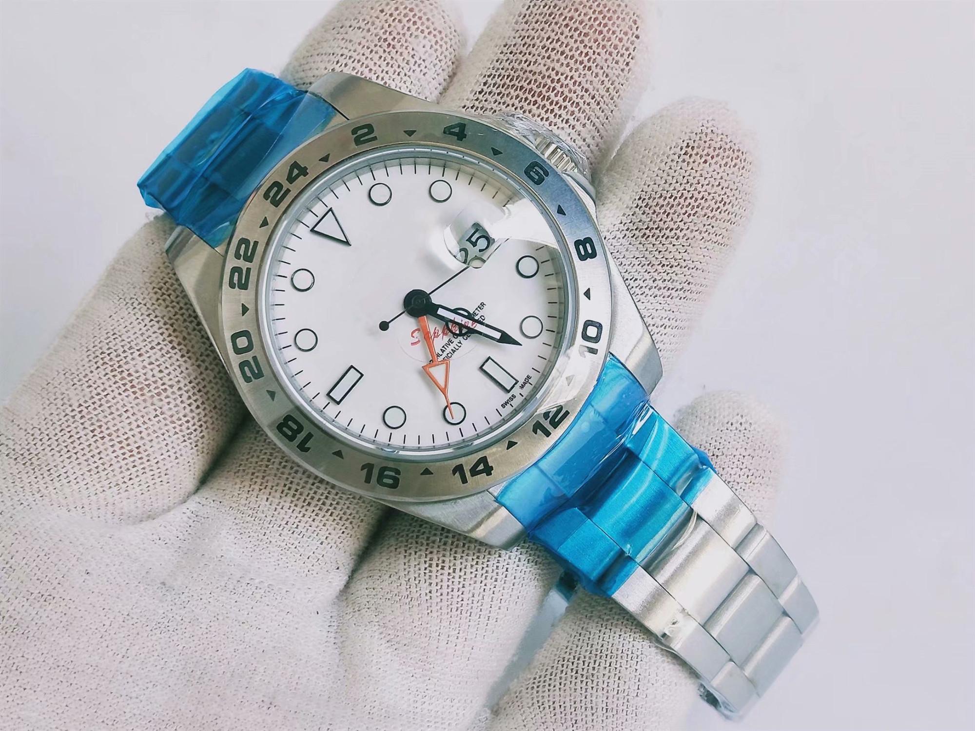 High Quality Mens della vigilanza 42 millimetri in acciaio inossidabile classico quadrante bianco Mens Watch Watches Explorer II 216570 Asia 2813 Movimento automatico