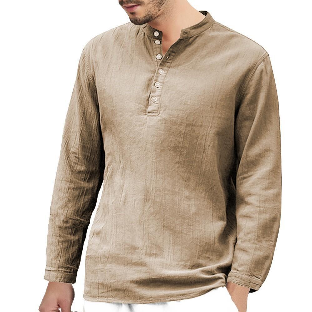 Mens Long Short Sleeve Polo Shirt Casual Striped Classic Cotton T-Shirt Henley Shirts
