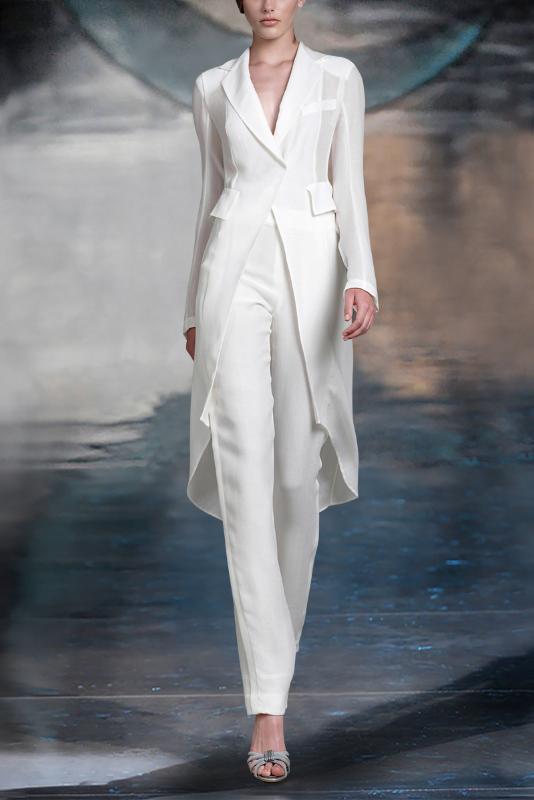 Blanco elegante mujeres de la chaqueta se adapta a la chaqueta larga trajes de señoras de la manera Pantsuit Blazer mujer de los trajes con los pantalones por encargo
