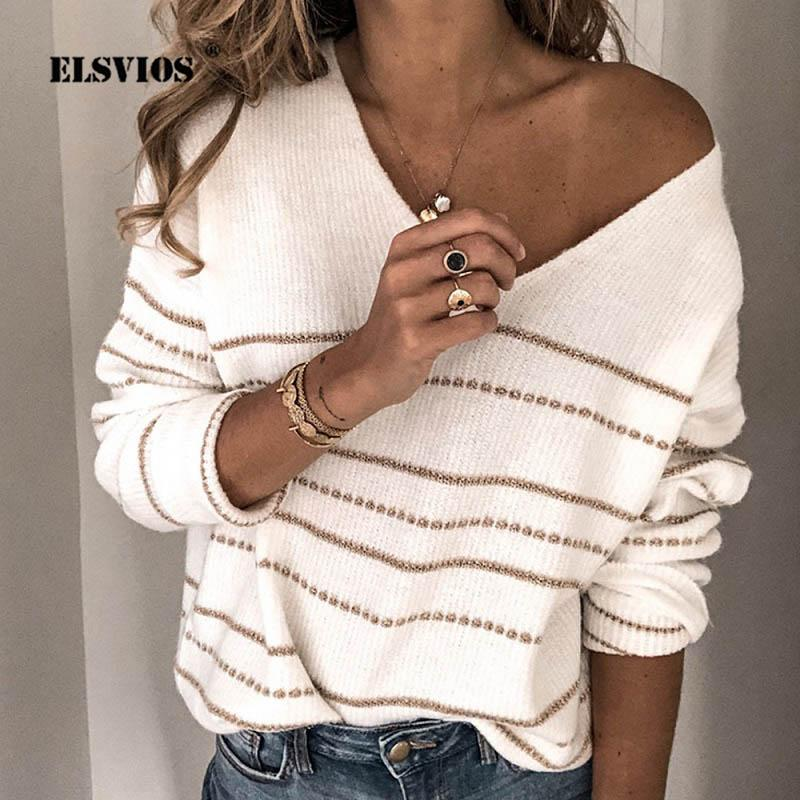 wholesale 3XL Winter Autumn Sweater Women Sexy V Neck Patchwork Knit Pullover 2019 Elegant Striped Casual Long Sleeve Pull Jumper