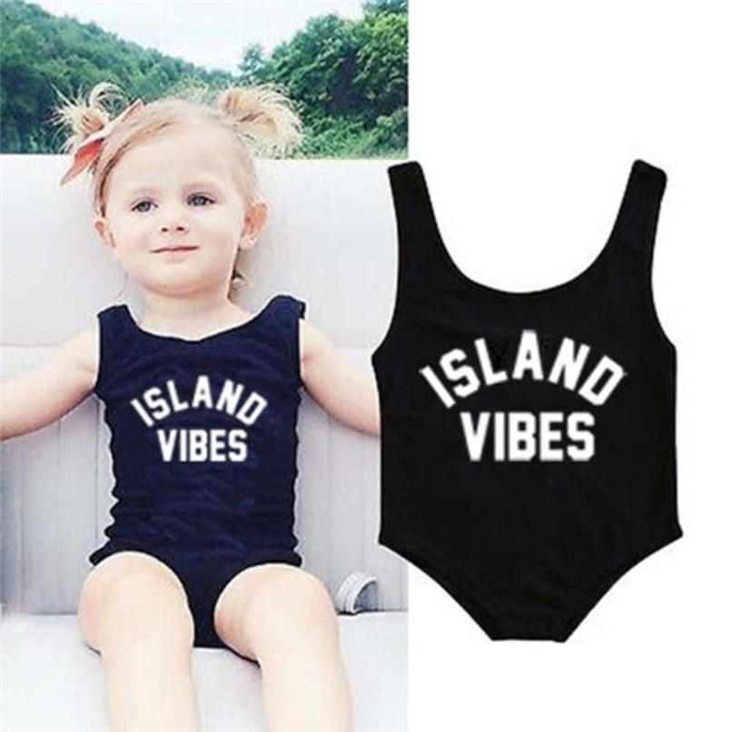 Swimwear for Girls Toddler Infant Kids Baby Girls Letter Printed One Pieces Sleeveless Swimwear Beach Swimsuit Clothes #5JE22