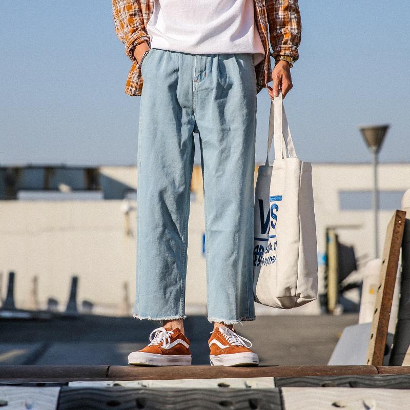 Moda erkek Rahat Sonbahar Yeni Kot M-2XL Gençlik Düz Gevşek Pamuk Dokuz Pantolon Mizaç Düz Renk Kişilik