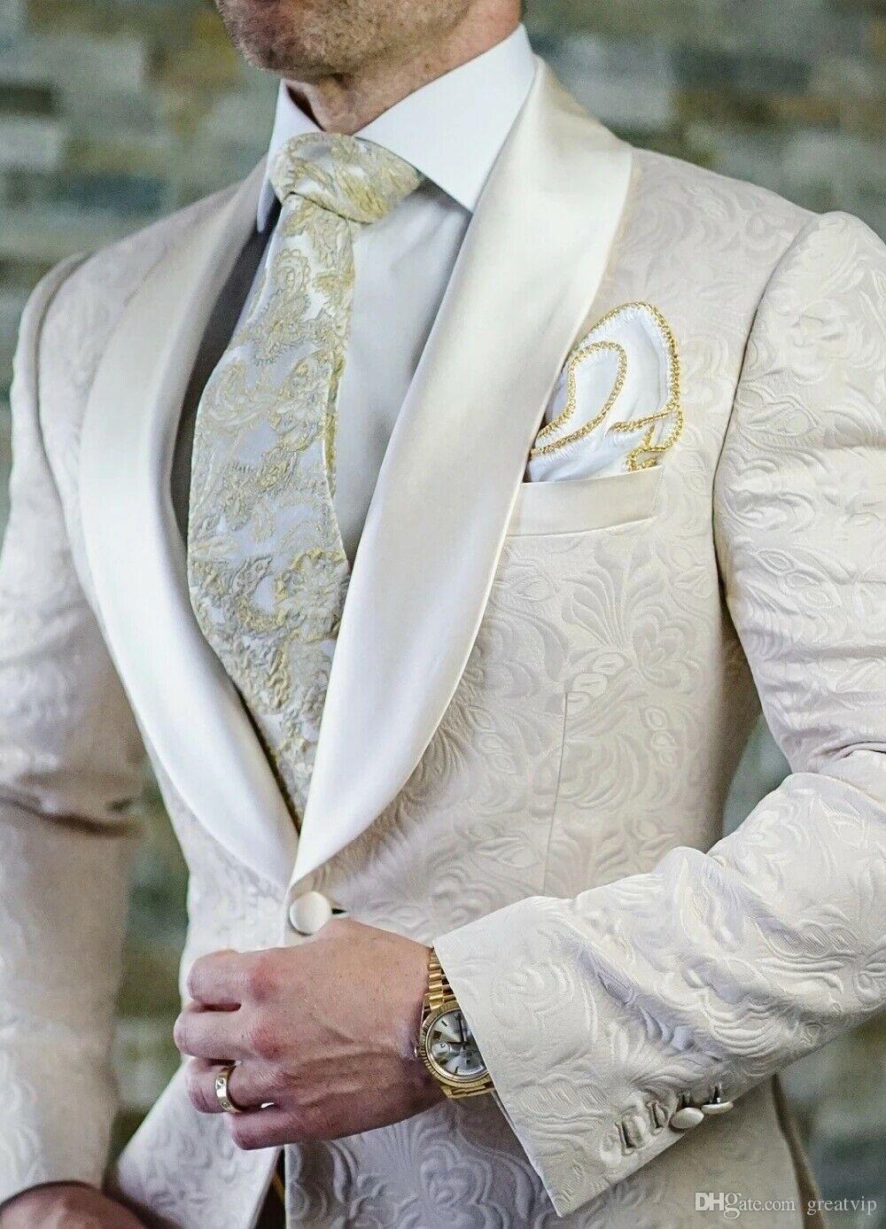 Krem Beyaz Mens Düğün Smokin Slim Fit Bir Düğme Balo yemeği partisi Sağdıç Blazers Baskılı Çiçek Yaka 3 Adet Ceket Custom Made