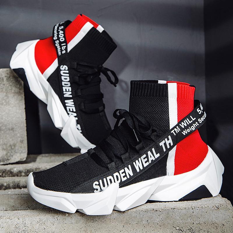 VSIOVRY Nueva Otoño de alta superior zapatos de los hombres de punto calcetines respirables zapatillas de deporte masculino Chunky papá de las zapatillas de deporte a pie suave claros para los hombres S200409