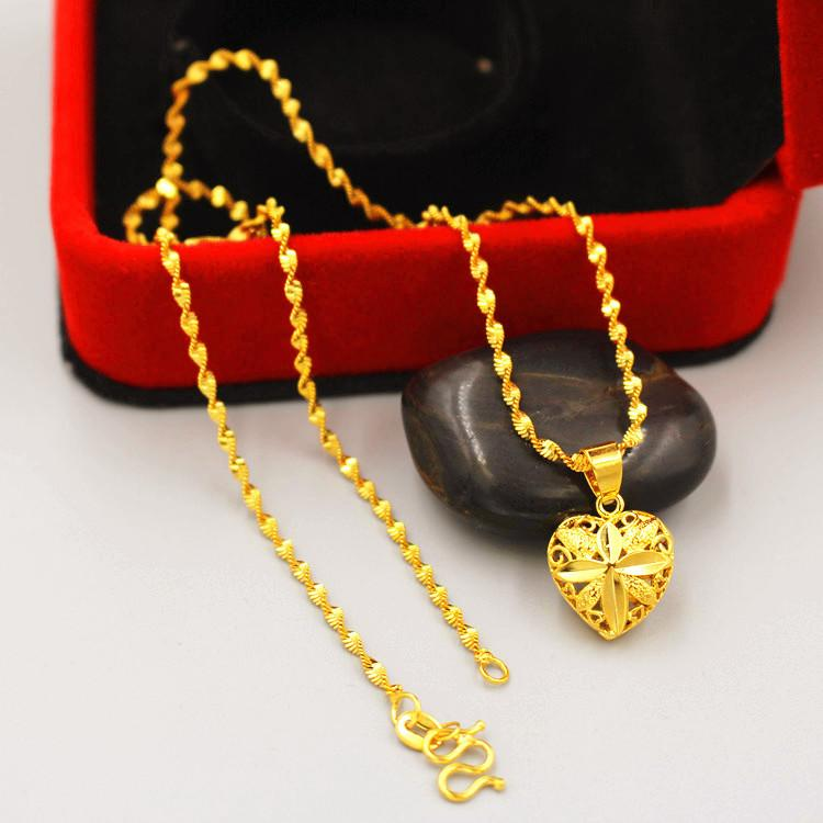 Heiße Verkauf Goldkettenanhänger Art und Weise hohle europäische Währung Frau alluvialen vergoldet schließlich verblasste immer Vietnam Schmuck Lange letzten
