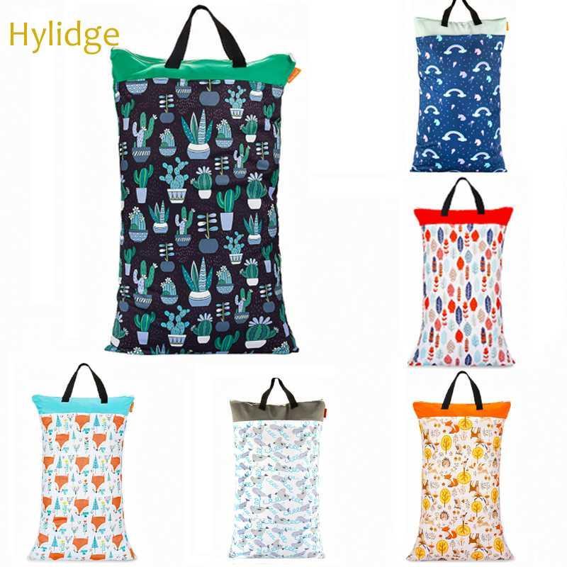 Hylidge 40x70CM Большой Висячие ткань Пеленки сумка водонепроницаемый Wet сухой мешок для подгузников для хранения белья Два Zippered Многоразовые Wetbag