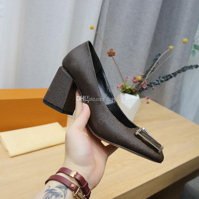 Мадленские насосы роскошные женские туфли коренастый каблук дизайнер высокие каблуки женщина платье обуви размером 35-42 модель HF01
