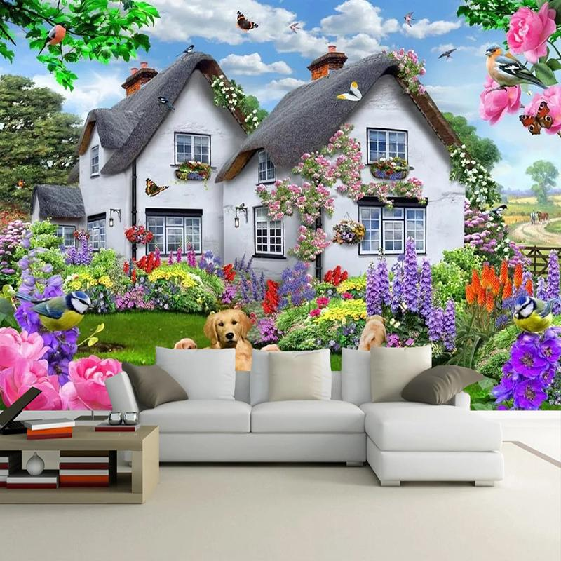 Dropship 3D Beautiful House Garden Dog Nature Landscape Poster Wall Decor Painting Children Room Bedroom Background Photo Wallpaper Mural