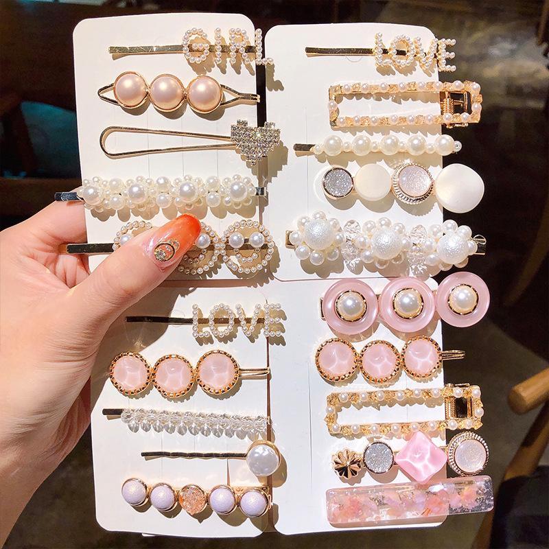 2020 New Women Girls Pearl Crystal Hairpins Side Clip Hair Jewelry Trendy Geometric Headwear Fashion Hair Accessories Barrettes