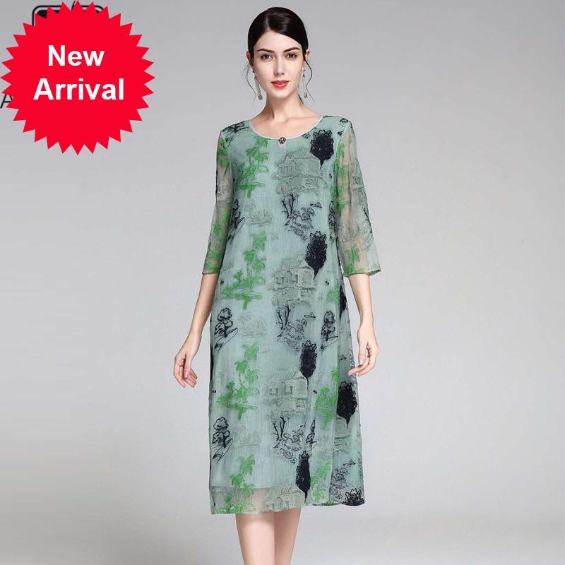 느슨한 봄 여름 드레스 여성 2,020 분 소매 녹색 드레스 꽃 자수 블루 캐주얼 크기 드레스
