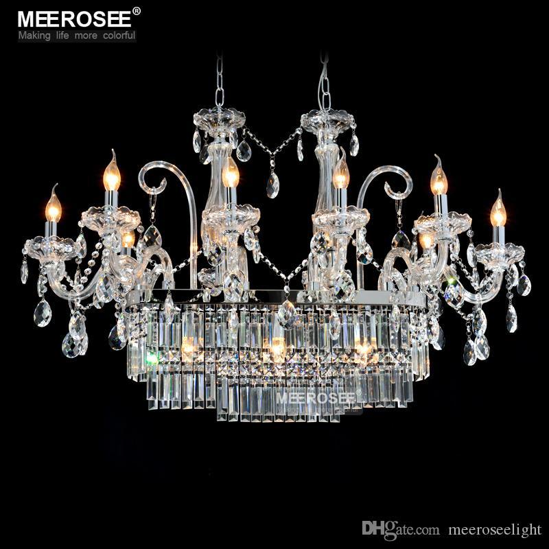 Lustre en cristal rectangle magnifique luminaire 13 lumières lustre en verre éclairage lustre suspendu salle à manger baisse lampe
