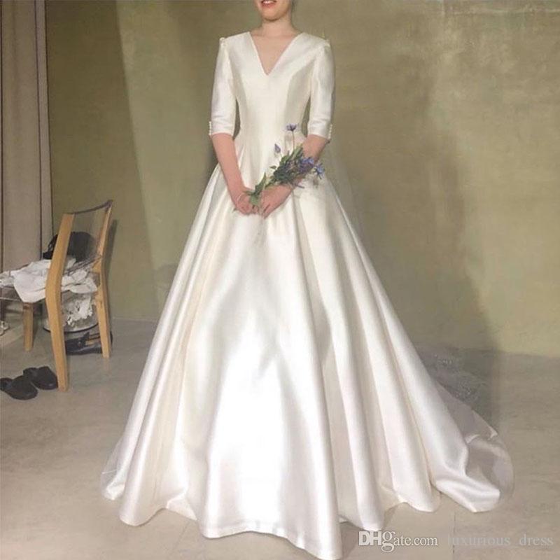 Yarım Kollu Prenses A-line Vestido De Novia Beyaz Fildişi Kore Gelin Giydirme Custom Made Yeni elbise de mariée ile Basit V-Boyun Gelinlik