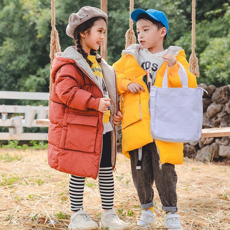 Chaqueta de invierno para niñas con capucha Espesar Capa larga caliente Parka Para Niños 2-10 años Niños Prendas de abrigo infantil del bebé
