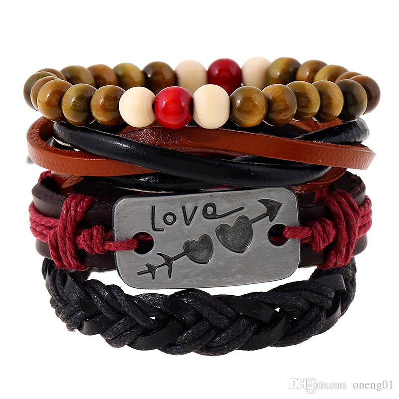 4 pçs / set pulseiras de couro retro para mulheres e homens Uma flecha através de um coração contas multicamadas pulseiras conjunto charme casal jóias