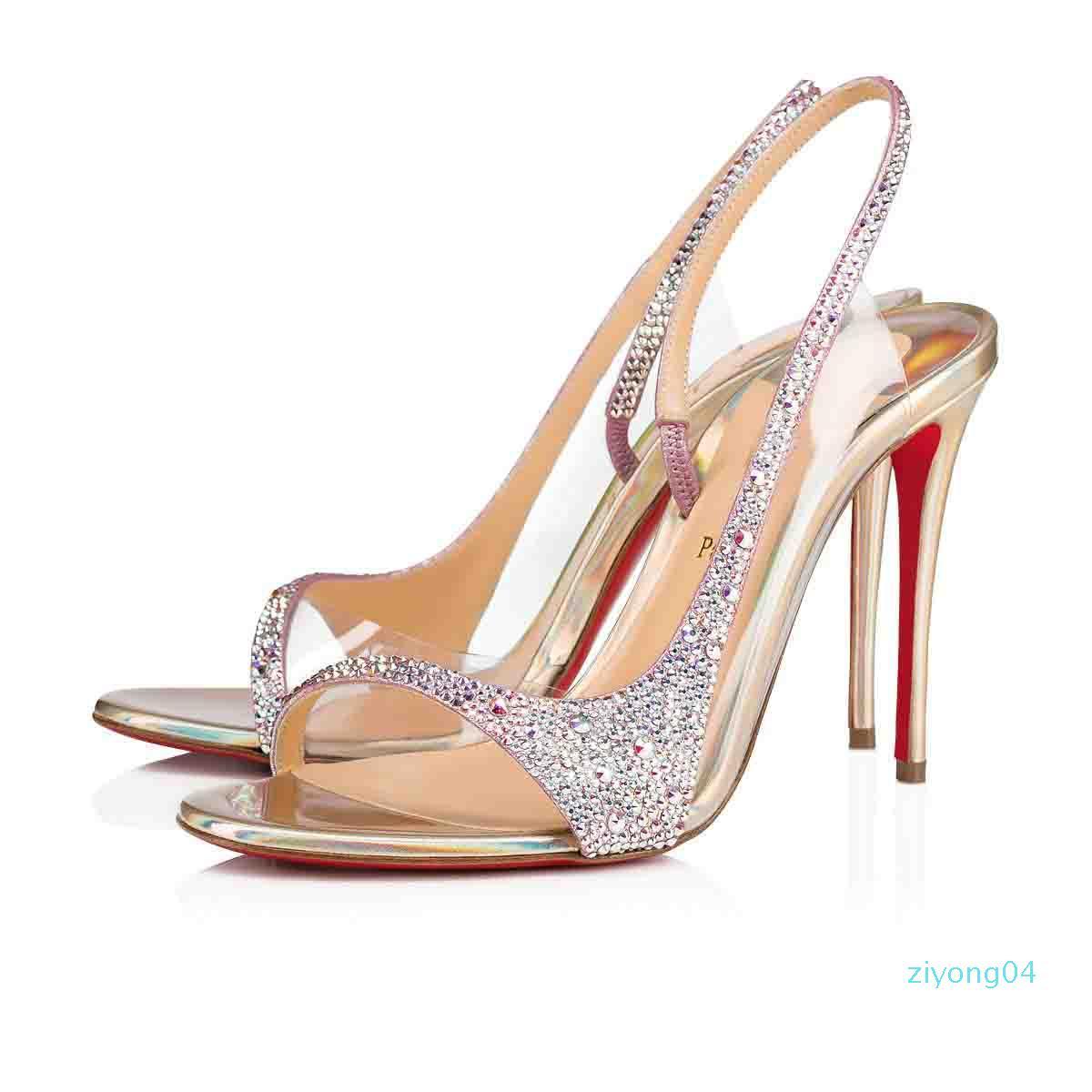 Buena calidad mujeres sandalias inferiores rojas zapatos de noche, Luxry tacones altos Renee Strass Rinestone bombas Sexy mujeres sandalia fiesta vestido de novia z04