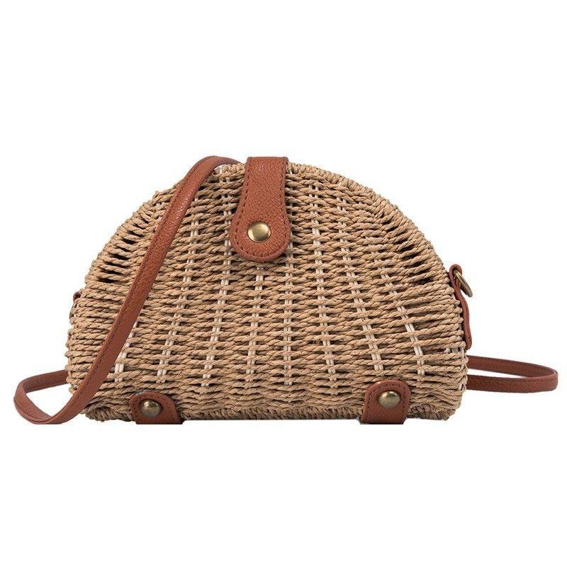 Crossbody Bag For Women Hot Girls Vintage Straw Shoulder Bag Semicircle Leather Strap Summer Beach Small Cheap Messenger