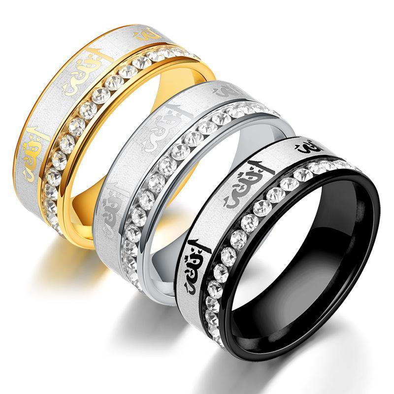 Beliebte Hot Arabisch Intarsien Strass Kristall Ring Edelstahl Paar Ring islamischen Titan Stahl Ringe Männer und Frauen Schmuck Beste Geschenke