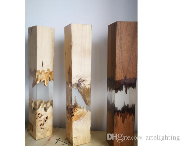 wood epoxy lamp table light led lighting CE passed factory wholesale with stock delivery in 2 days